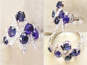 コーンフラワーをモチーフにしたオリジナルのサファイヤ・ダイヤモンドリング