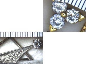 K18イエローゴールドの3ストーンダイヤモンドネックレスと、ホワイトゴールドのダイヤモンドペンダント リフォーム前