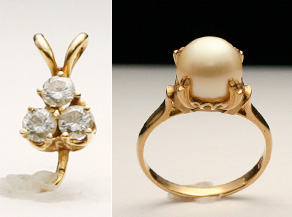 ダイヤモンドと真珠のリング リフォーム前