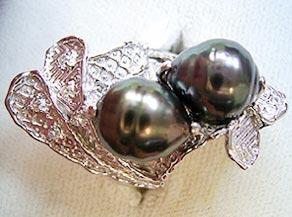 南洋黒真珠(バローク)の余り珠を利用したリング リフォーム後