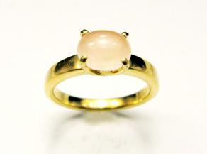 ピンクムーンストーンを使用した指輪 リフォーム後