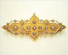 天然真珠のアンティークブローチの修復
