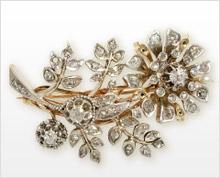 ビクトリア調のダイヤモンドのブローチ
